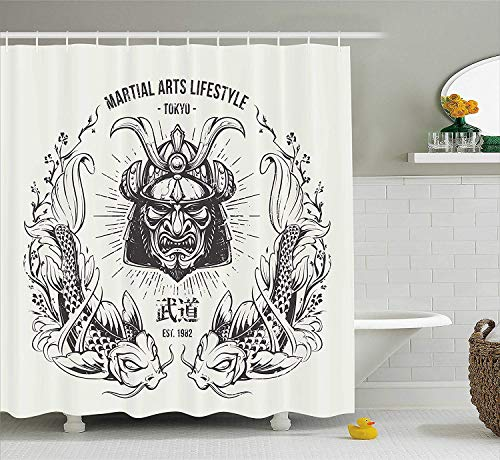 KOiomho Asian Shower Curtain, Traditional Japanese Samurai Mask Koi Fish Martial Arts Lifestyle Tokyo Typography, Fabric Bathroom Decor Set with Hooks, 60W X 72L Inch Long, Coconut Grey ()