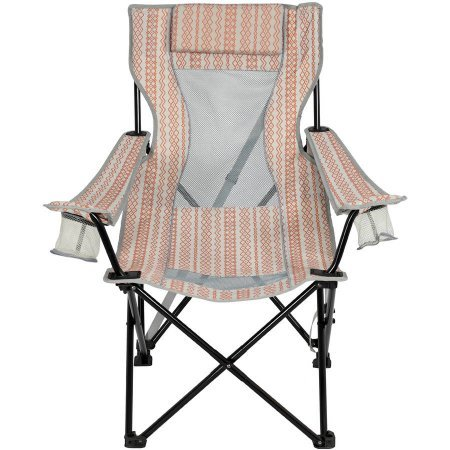 300lbs Weight Capacity, Gray-Orange, Oversized Mesh Lounge Chair, Durable Steel Frame, Strurdy Ripstop Polyester Fabric, Lightweight, Trasportable, Carry-bag Included, Outdoor