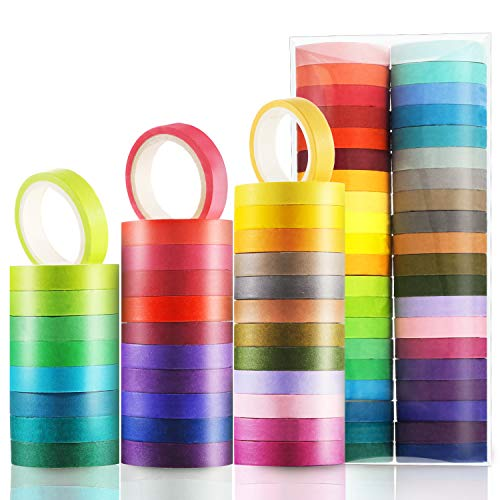 Boao 40 Rolls Colorful Washi Tapes Decorative Masking Tapes Board Line Rainbow Tape Rolls for Arts Crafts, 40 Colors -