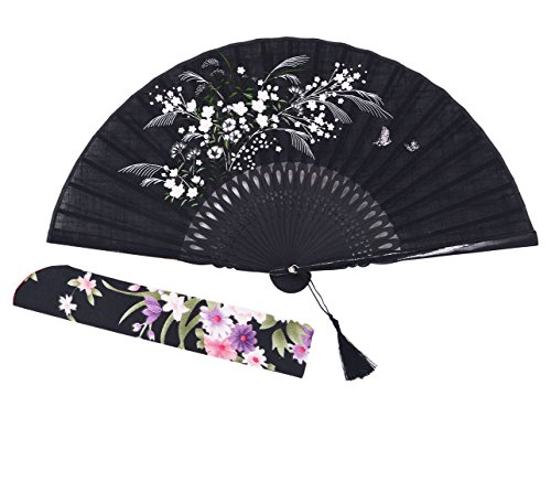 "Amajiji 8.27"" Beautiful hand-crafted Chinese Japanese hand held folding fan with first-class bamboo spins and traditonal silk fabrics HBSY (004)"