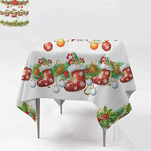 - Stain Square Tablecloth,Christmas,Traditional Garland Designs with Flowers Socks and Bells Mistletoe Candy,Table Cover for Dining,54x54 Inch Orange Red Green