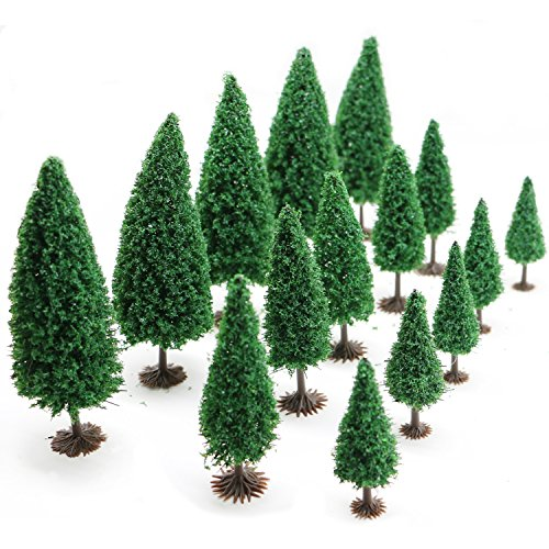 15pcs Mixed Model Trees with Base 2.6-4.3inch(6.5-11 cm),Jomass Model Train Scenery, Architecture Trees,Model Cedar Trees with Stands by Jomass