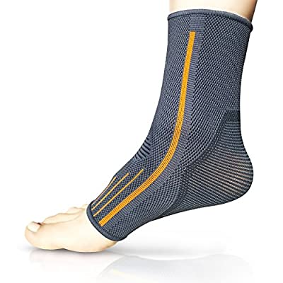 Ankle Brace Compression Sleeve | Arch Support | Foot Sock for Injury Recovery, Joint Pain, Swelling, Achilles Tendon | Pain Relief from Heel Spurs, Plantar Fasciitis | Breathable | Women & Men