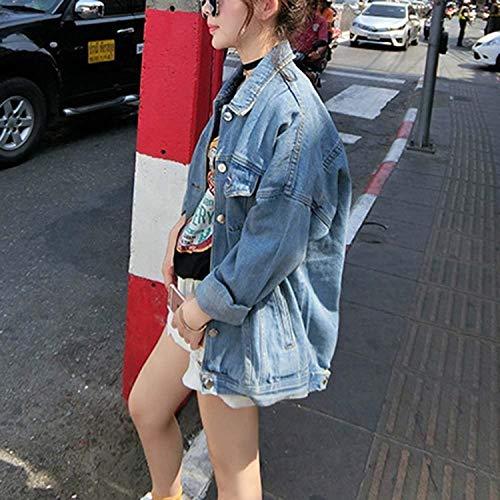 Lunga Outerwear Giacca Blu Casuale Elegante Giorno Giacche Battercake Bavero Single Con Donna Donne Autunno Manica Moda Tasche Giubotto Baggy Jeans Breasted Giovane pOwwTqd