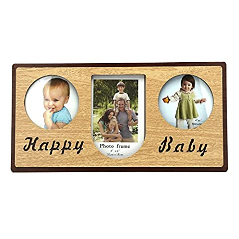 Triple Openings Wood Desktop Picture Frame with Glass Front (Triple Openings