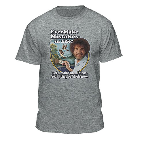 Bob Ross Make Mistakes Into Birds Official Licensed T-Shirt Athletic Heather