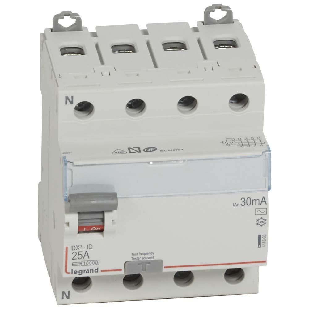Legrand LEG411662 Interrupteur diff/érentiel dx-id Vis//Vis 4P 400 V 63 A Type AC 30 mA D/épart bas 4 m