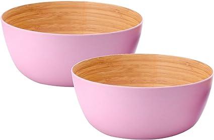 AMTNATURE Set de 2 Ensaladeras Cuencos de bambú con Capacidad de 1200 ml | Apto Lavavajillas | Vajilla de bambú | Ensalada | Fruta | Picnic | Camping ...