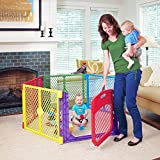 Toddleroo by North States Superyard Colorplay Ultimate 6-Panel Play Yard: Safe Play Area Indoors/Outdoors. Folds up with Carrying Strap. Freestanding. 18.5 sq. ft. Enclosure (26