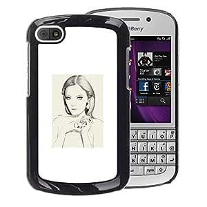 A-type Arte & diseño plástico duro Fundas Cover Cubre Hard Case Cover para BlackBerry Q10 (Woman Portrait White Sad Depression)