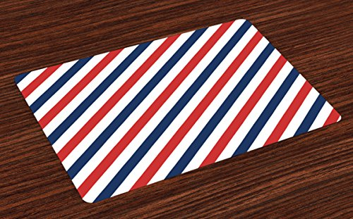 (Ambesonne Harbour Stripe Place Mats Set of 4, Vintage Barber Pole Helix of Colored Stripes Medieval Contrast Design, Washable Fabric Placemats for Dining Room Kitchen Table Decor, Blue Red White)