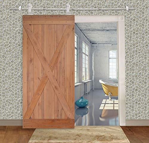 "IM AMELIA 36""x84"" Solid Core Knotty Alder Natural Wood Interior Primed Barn Sliding Door"