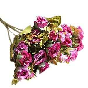 TOPMAX 2 Bunch (15 Heads) Mini Roses Bouquet Artificial Flowers Home Wedding Garden Decoration (Magenta) 6
