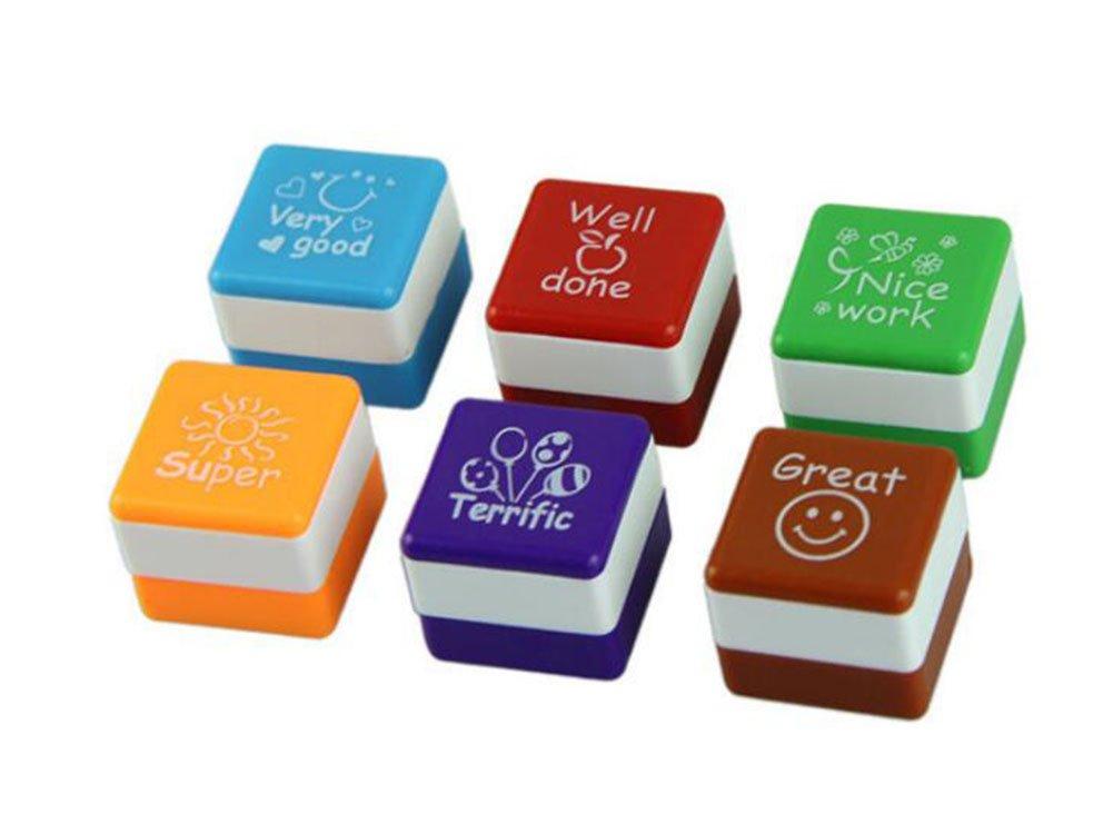 6PCS Demarkt Profesor Colorido Recompensa Sello de Entintado Automático Alabado a la Motivación Bien Hecho Súper Gran Fabuloso Sello de Juguete de la Escuela