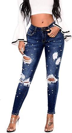 Hx Fashion Pantalones Vaqueros De Perlas Mujer Pantalones Para Pitillo Pitillo Tamanos Comodos Pitillo De Mezclilla Pantalones Rasgados Con Agujeros Rasgados Pantalones De Moda 2019 Ropa De Mujer Amazon Es Ropa Y Accesorios