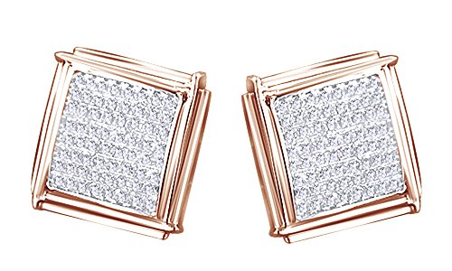 14K Solid Rose Gold Round Cut White Real Diamond Hip Hop Stud Earrings (0.72 Cttw) by wishrocks