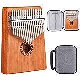 ATUP Kalimba 17 Keys Thumb Piano Solid Finger Piano Mahogany Body with Tuning Hammer Study Instruction Carry Case - Best Birthday Christmas Gift for Music Fans Kids Adults (Mahogany wood)
