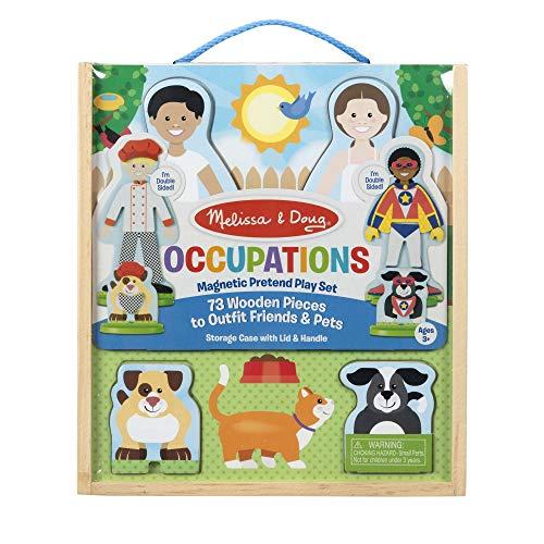 Melissa & Doug Occupations Magnetic Dress-Up Wooden Dolls Pretend Play Set (81 pcs)
