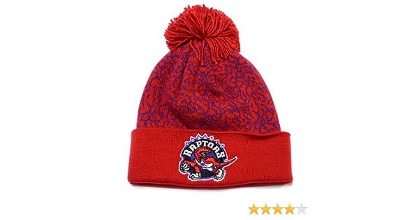 cb980adf27a Amazon.com: Toronto Raptors Mitchell & Ness Crack Pattern NBA Knit Hat with  Pom: Clothing
