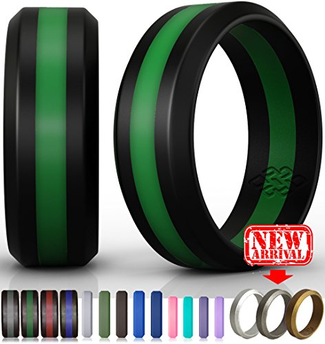 Knot Theory Silicone Wedding Ring by (Black/Bright Green Line, Size 8.5-9) x2605;8mm Band for Best Comfort, Style, and Safety (Green Firefighter)