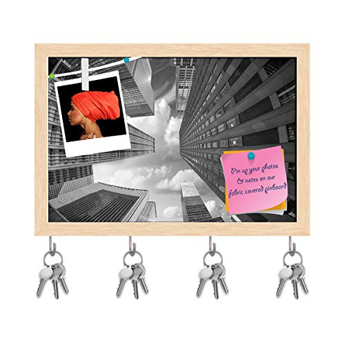 Artzfolio City Skyscrapers in A Fisheye Upward Street View Key Holder Hooks | Notice Pin Board | Natural Brown Frame 14.6 X 10Inch