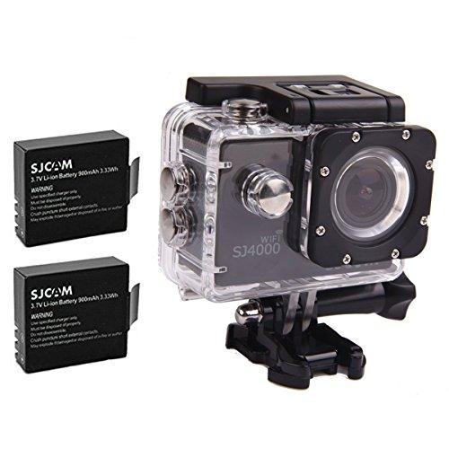 SJCAM Original SJ4000 WiFi Version Full HD 1080P 12MP Camera Case (Black)+Extra 2 BatterieS