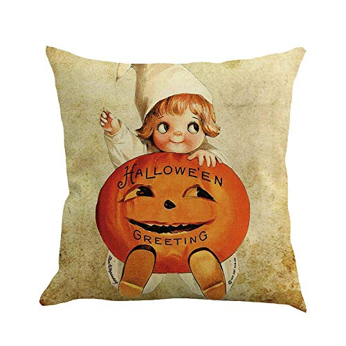 Halloween Pillow Covers 18X18 Vintage Jack O Lantern Pumpkin Print Tea Stained Throw Pillows Soft Sofa Couch Bed Car Cushion Pillow Cases Thanksgiving Harvest Home ()
