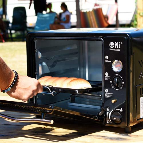 NJ Mini Horno de Gas portátil 30L Grill Camping Outdoor Butane 1.3kW Timer Piezo GF-300