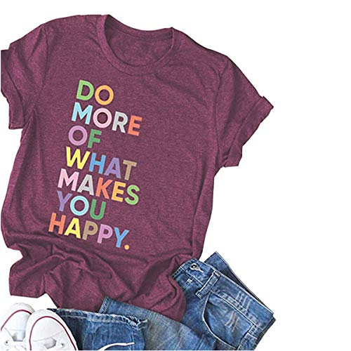 Deyuanjiagou Women's Fun Happy Graphic Tees Summer Cute Round Neck Short Sleeve Letter Printed T-Shirts Red -