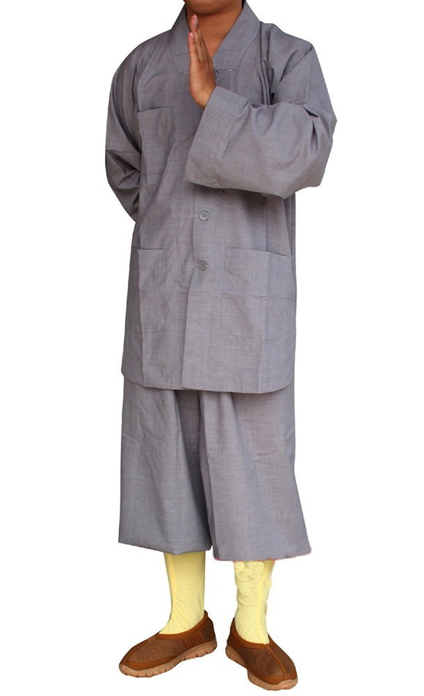 ZooBoo Men's Traditional Shaolin Kung Fu Robe Meditation Long Gown Suit (Gray, XXS/155) by ZooBoo
