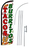 """NEOPlex – """"Tacos & Burritos 12-Foot Super Swooper Feather Flag with Heavy-Du. For Sale"""