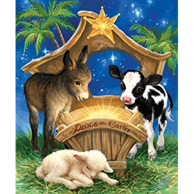 SUNSOUT INC Born in a Manger 200 pc Jigsaw Puzzle: Toys & Games