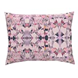 Roostery Tribal Pink Ikat Boho Global Indian Southwest Standard Knife Edge Pillow Sham Tribal Dreams Pink by Fable Design 100% Cotton Sateen