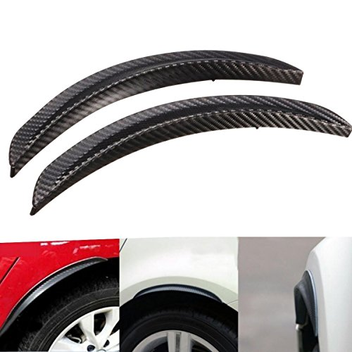 FLY5D 2Pcs Universal Carbon Fiber Black Car Truck Wheel Eyebrow Arch Trim Lips Fender Flares Protector Decoration Strip Mud Flaps Splash Guard Mudguard Car Exterior Parts