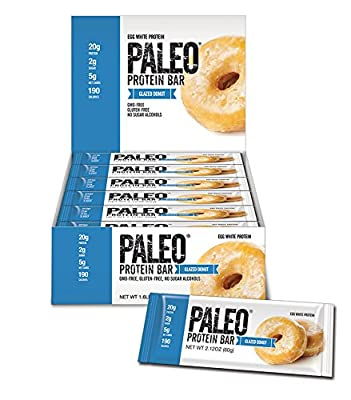 Paleo Protein Bar? (Glazed Donut) 12 Bars (20g Egg White Protein) 5 Net Carbs (Organic Prebiotics / Probiotics)