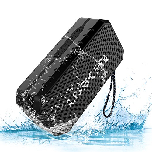LOBKIN Waterproof Bluetooth Speaker, Portable Wireless Stereo Speaker,IPX6 Water Resistance & Built-in Mic, Dual-Driver Outdoor Speaker for Pool, Beach, Travel, Party