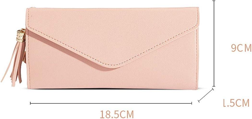 YanHao Women Wallets Tassel Faux Leather RFID Blocking Purse Long Purse Multi Card Organizer