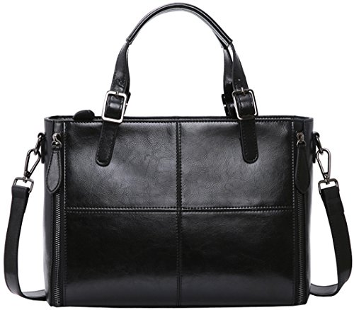 On Women's kr002 Genuine Handle Shoulder Clearance Top Sale Satchel Purse Vintage Black Leather Big Handbag Bag Style Tote Iswee Urban rIXrxgH