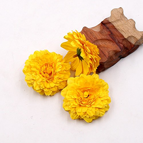 Artificial Flower Silk Marigold Wedding Party Decorative Flower DIY Hat Ornament Simulation Fake Flower Flower Decorative 10pcs (yellow)