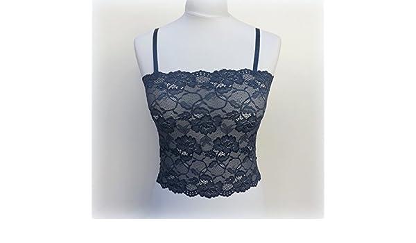 75817efb21 Amazon.com  Navy blue lace tank top. Elastic floral lace bralette. Blue  lace bustier. Blue lingerie. Lace lingerie. Blue lace camisole.  Handmade