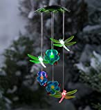 Color Changing Solar Mobile with Dragonflies and Flowers - 7.5 L x 7.5 W x 32 H