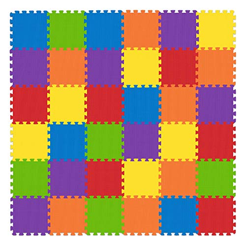 Non-Toxic Play Mat for Kids Toddlers Childrens Infants - Interlocking Foam Puzzle Thickest Baby Mat for Play & Exercise 36 Tiles 12x12in (10mm) - Floor Coverage 36 Sq Ft