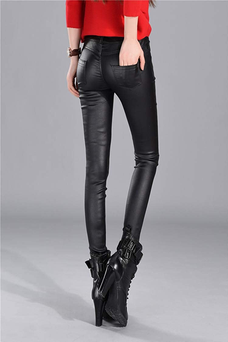 AXHSYZM Women Tight PU Leather Pant Black Wearing Leggings Elastic Force Small Feet Pencil Pants