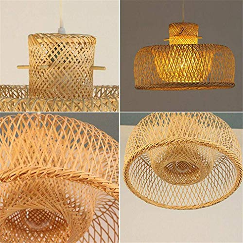 (ChuanHan Ceiling Fan Light Chandelier Lightings Bamboo Wicker Rattan Miss Hat Shade Pendant Fixture Japanese Asian Rustic Hanging Lustre Avize Chandeliers)