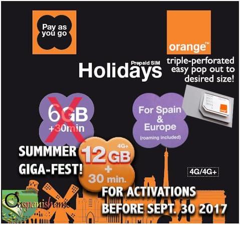Naranja Vacaciones Europa voz (30 min.) y datos (3GB) tarjeta SIM. Libre Plus de procesamiento de llamadas entrantes. Por favor espere 2 días 5 – 7 días entrega a Reino Unido.: Amazon.es: Electrónica