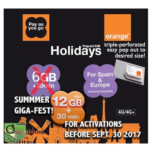 Naranja Vacaciones Europa voz (30 min.) y datos (3GB) tarjeta SIM ...