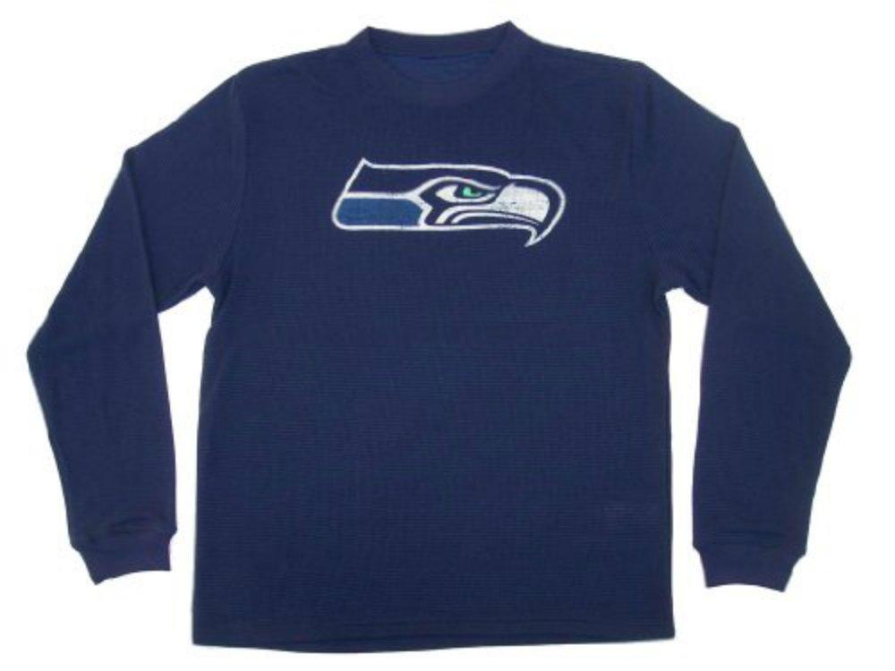 【高価値】 Seattle Long Seahawks Seahawks Long Sleeve Thermalシャツ大人用サイズXL XLネイビーブルーワッフルシャツ B072YVFGBJ B072YVFGBJ, 灘区:3a819ca6 --- a0267596.xsph.ru