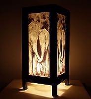 Thai Vintage Handmade Asian Oriental Family Elephant Bedside Table Light or Floor Wood Paper Lamp Shades Home Bedroom Garden Decor Modern Design from Thailand