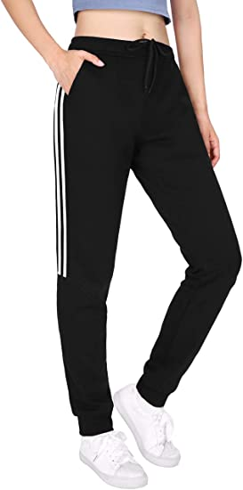 DISHANG Womens Fleece Joggers Pants with Side Stripes Lightweight Comfy Running Training Workout Sweatpants