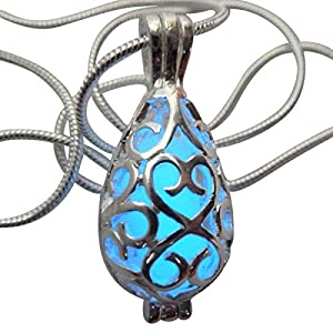 UMBRELLALABORATORY Wishing Necklace, Steampunk Jewelry Teardrop Fairy Magical Glow in The Dark-Blue-Silver
